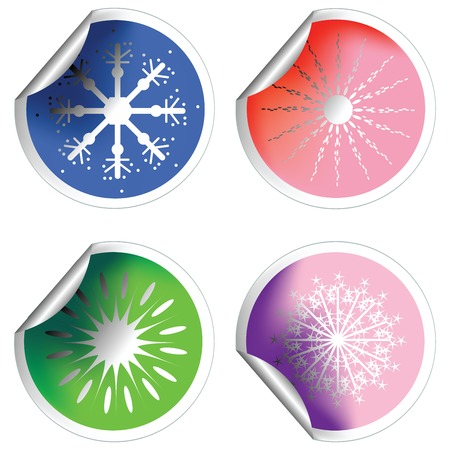 Fresh winter stickers with snowflakes and pealed corners Stock Vector - 6134964