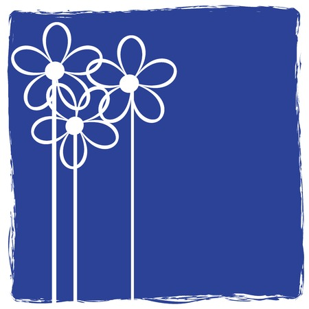 Grunge abstract floral icon on blue background Stock Vector - 6135036