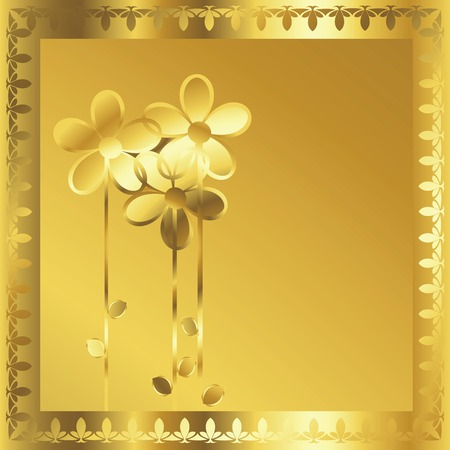 Coputr generated gold frame with stylized flowers Stock Vector - 6135046