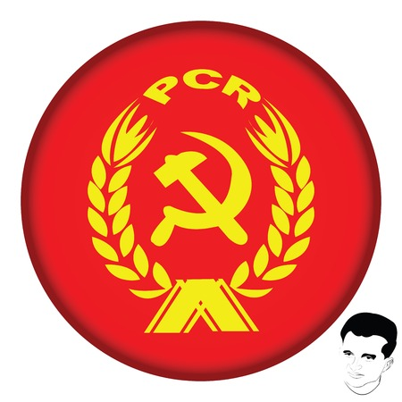 Romanian Communist Party icon and portrait of Nicolae Ceausescu Stock Vector - 6135005