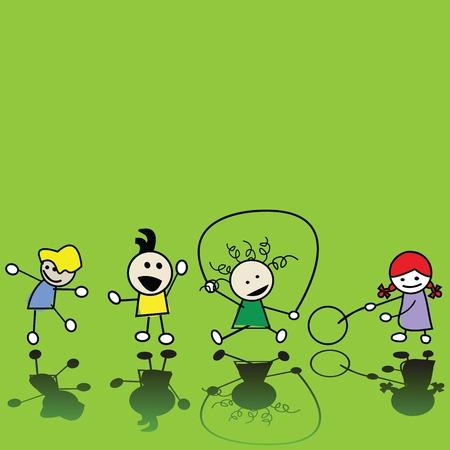 game boy: Silhouettes des enfants jouant Illustration