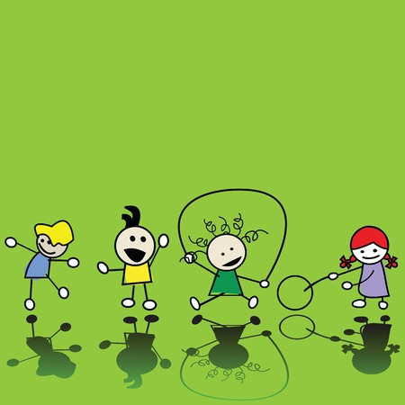 Silhouettes of children playing Vector Illustration