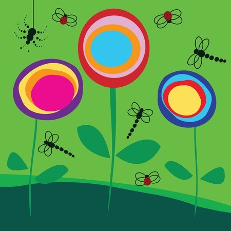 Background with flowers and insects Stock Vector - 6187143