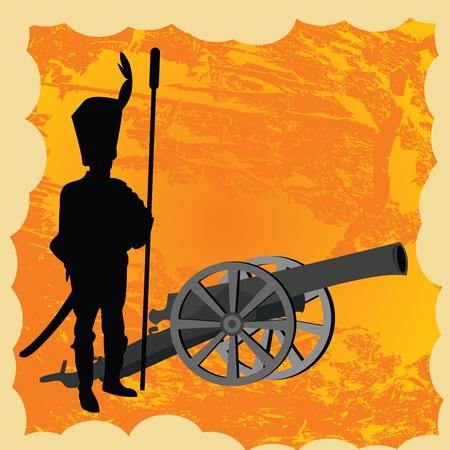 soldat silhouette: Gros canons avec la silhouette de soldat Illustration