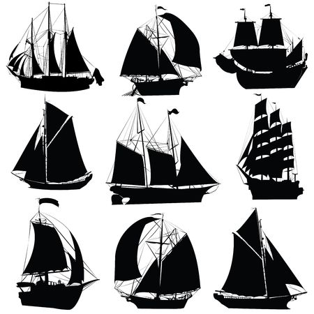 Sailing ships silhouettes collection, isolated objects on white background Stock Photo - 6193347