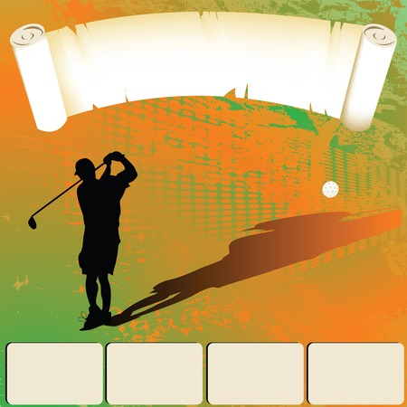 christmas golf: Golfer silhouette shooting, web template