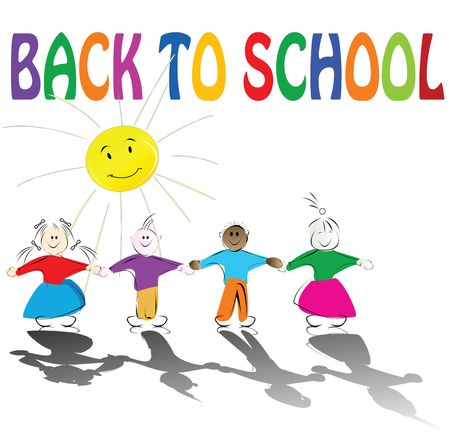 Back to school illustration with cute kids holding hands and smiling sun Stock Illustration - 6195891