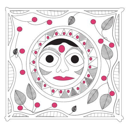 Indische Sonne, Handrawing mandala Standard-Bild - 6195700