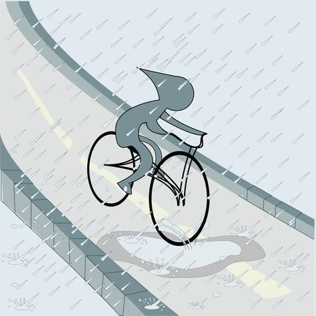 Biker in the rain, vector art Stock Photo - 6186972