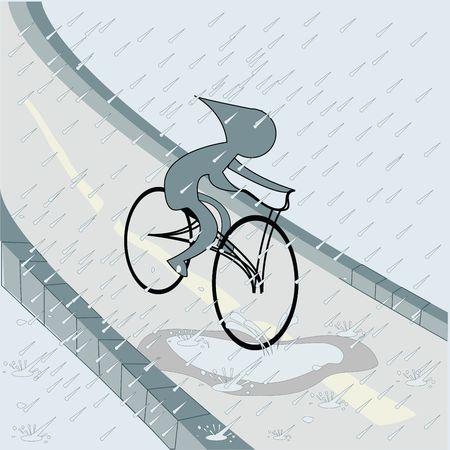 Biker in the rain, vector art Stock Photo - 6186972