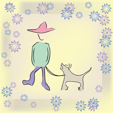 Boy walking the dog, art Stock Photo - 6186968