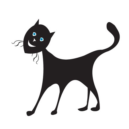 Blue eyes cat silhouette, isolated object on white background Stock Photo - 6187327