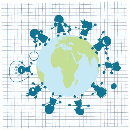Children and globe illustration, art  illustration