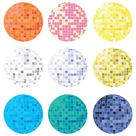 Collection of disco globes in many colors for personalized design, isolated objects on white background Stock Photo - 6196202