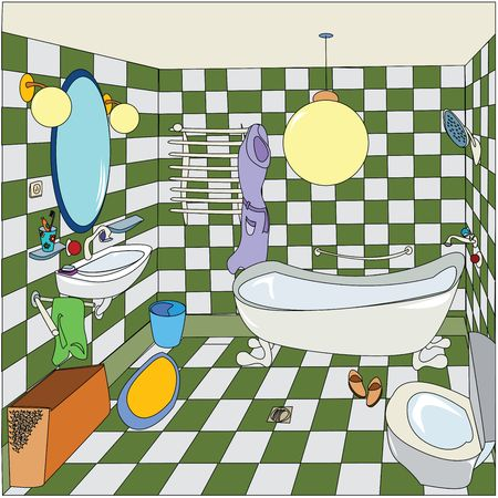 bath room: cozy bathroom, cartoon illustration, easy to edit with isolated and grouped objects