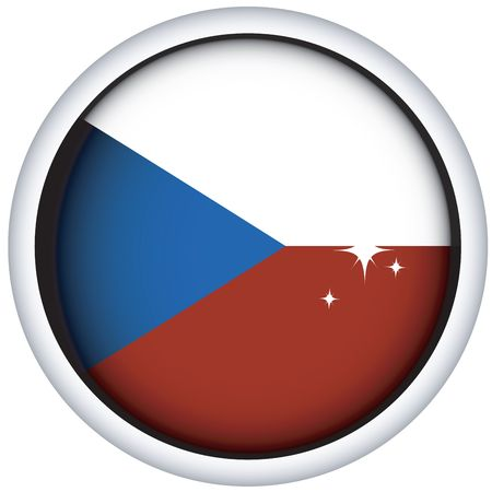 Czech sphere flag button, isolated on white photo