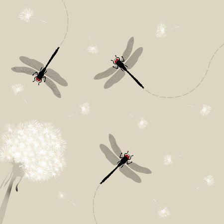 Dandelion and dragonfly illustration illustration