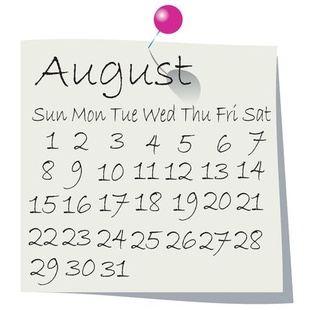 Calendar for August 2010, handwriting on paper with holding pin photo