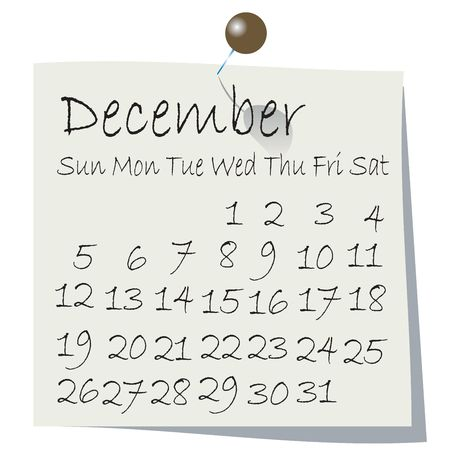 Calendar for December 2010, handwriting on paper with holding pin photo