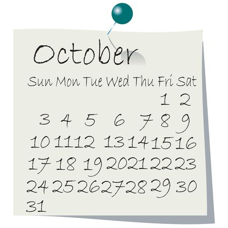 Calendar for  October 2010, handwriting on paper with holding pin photo