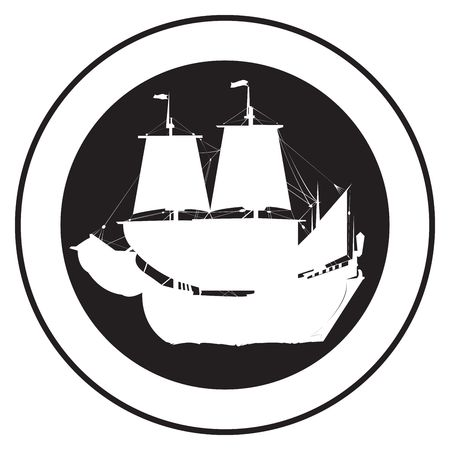 Emblem of an old ship, stamp photo
