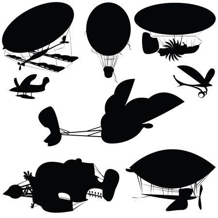 Fantastique flying machines, isolated objects on white background Stock Photo - 6196347