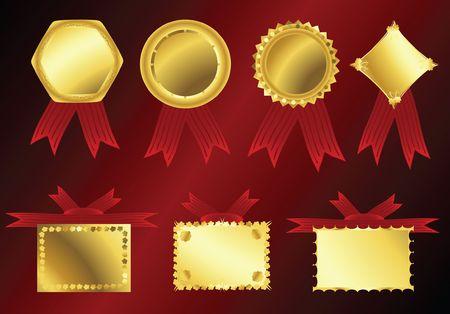golden ribbons on red velvet background photo