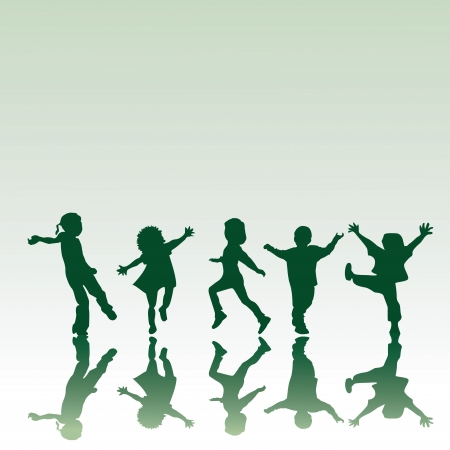kinder: Five children silhouettes in different positions, illustration