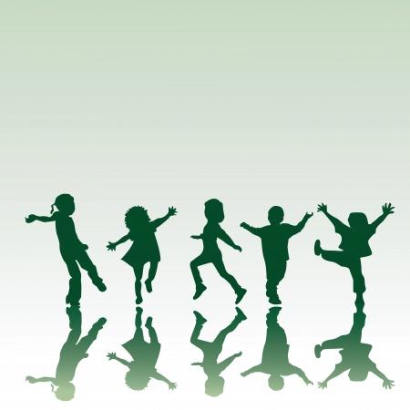 kinder: Sagome di cinque figli in diverse posizioni, illustrazione