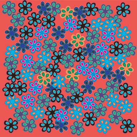 Retro flowers on red background Stock Photo - 6196377