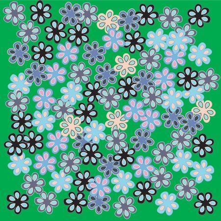 Stylized flowers on green background, illustration Stock Illustration - 6197378