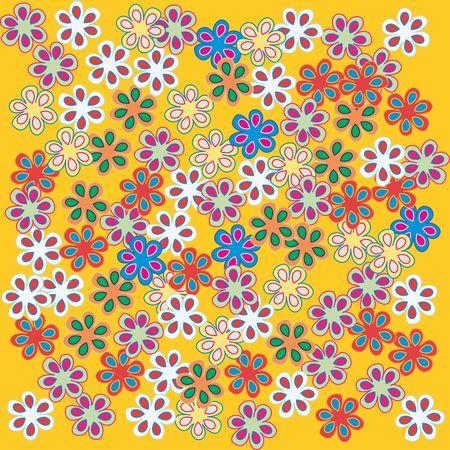 Fresh flowers on yellow background, art illustration Stock Illustration - 6197332