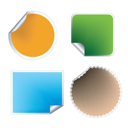 Collection of empty labels in friendly colors for comercial use photo
