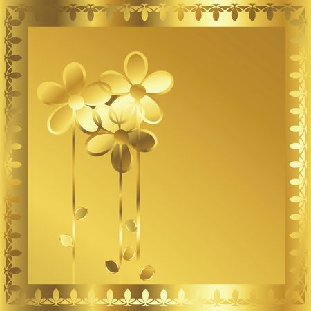 Coputr generated gold frame with stylized flowers Stock Photo - 6195883