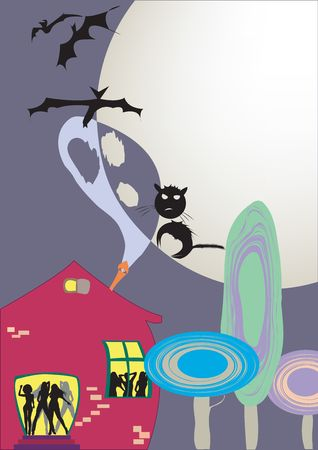 Halloween party poster, illustration Stock Illustration - 6195335