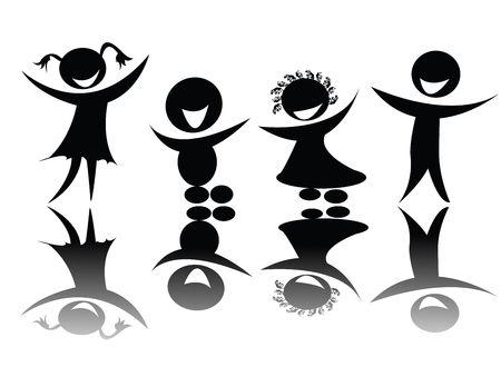 Silueta de niños en blanco y negro, ediable  Foto de archivo - 6195695