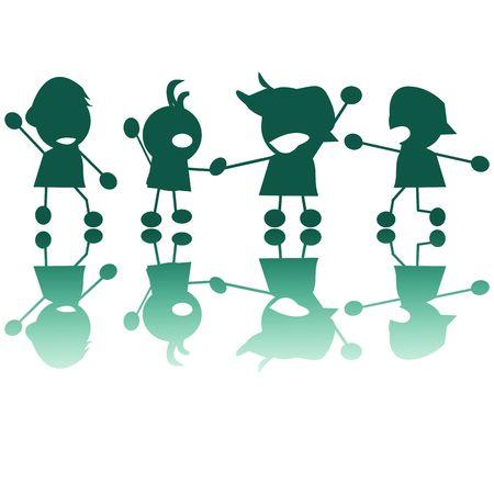Happy children silhouettes photo