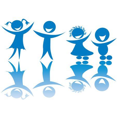 Happy children silhouettes, art Stock Photo - 6187370