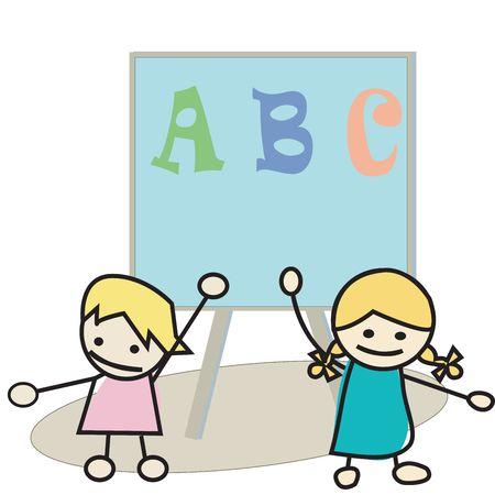 Happy little kids learning alphabet photo