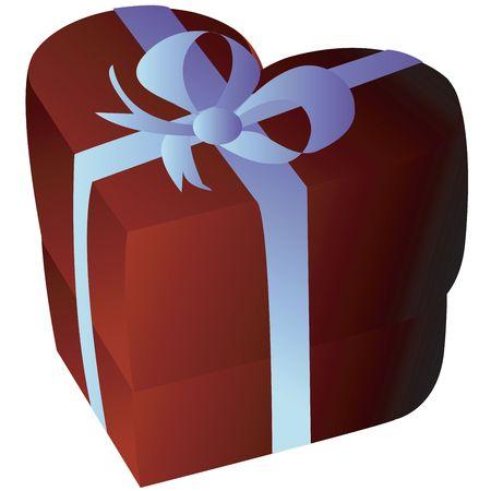 Heartshape giftbox isolated on white Stock Photo - 6187282