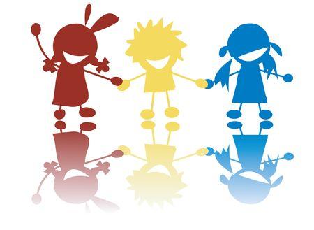 Felices los niños pequeños, celebración de manos en colores, siluetas de stilized Foto de archivo - 6187240