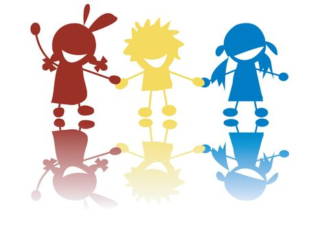 Happy little children holding hands in colors, stilized silhouettes photo