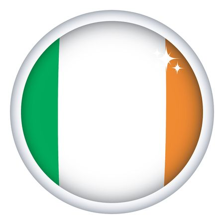 irish pride: Irish sphere flag button, isolated on white