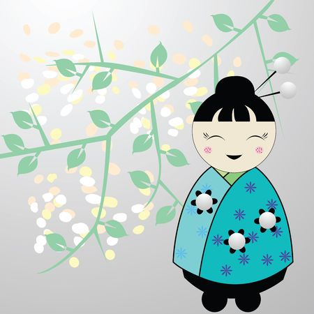 Japanese little girl illustration, art illustration