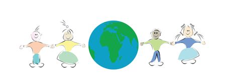 kids and globe illustration, art  illustration
