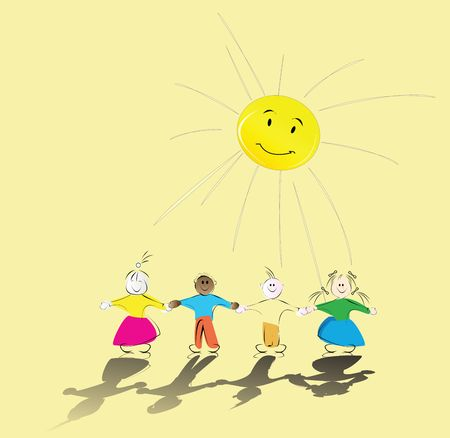 friends laughing: multiracial kids holding their hands and smiling sun