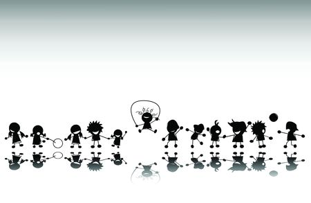 Group of kids playing, silhouette Stock Photo - 6195522