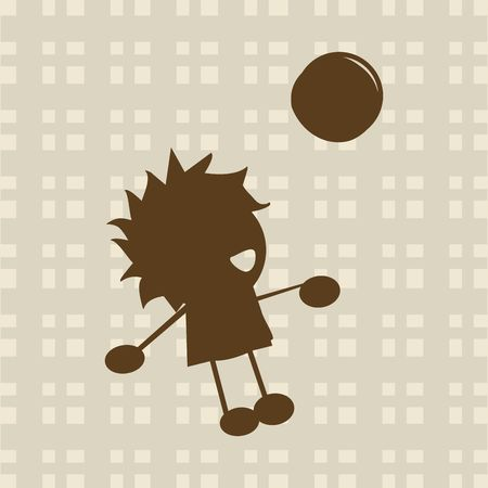Little boy playing with ball silhouette photo