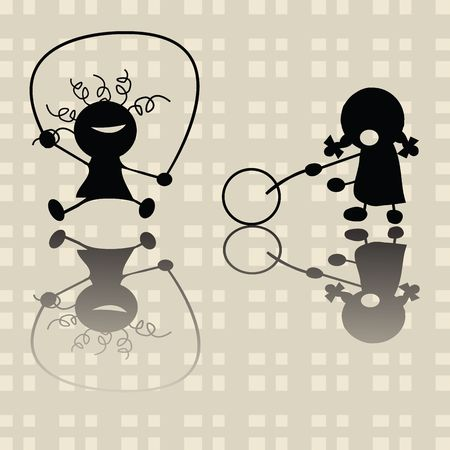 belles jambes: Jouer � des jeux de petites filles Banque d'images