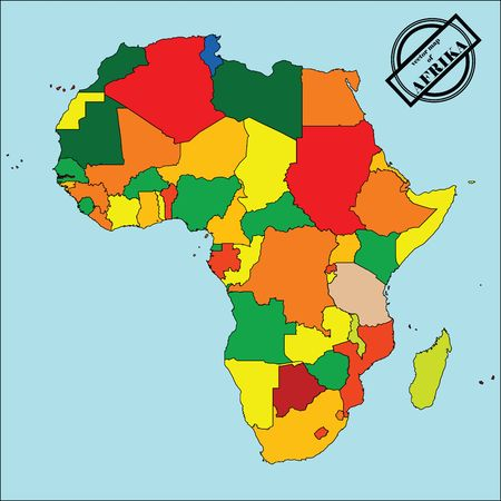diagrammatic: Political map of africain colors, easy to edit, copy, paste, move countries